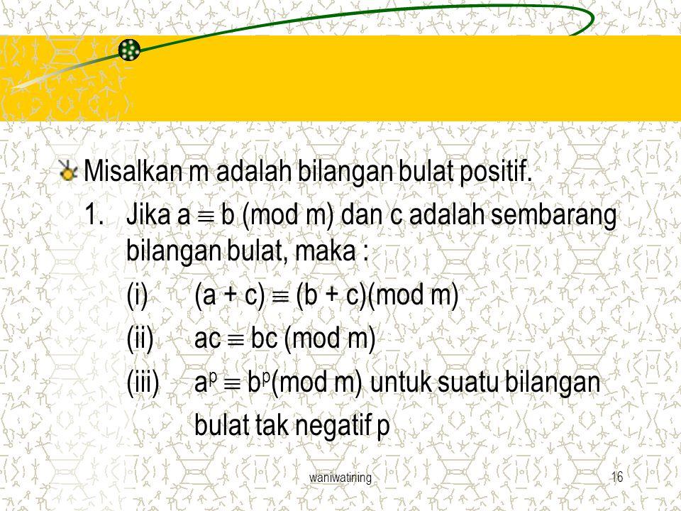 Misalkan m adalah bilangan bulat positif.
