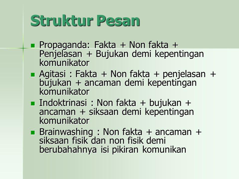 Struktur Pesan Propaganda: Fakta + Non fakta + Penjelasan + Bujukan demi kepentingan komunikator.