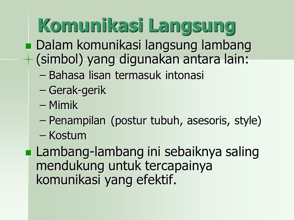 Komunikasi Langsung Dalam komunikasi langsung lambang (simbol) yang digunakan antara lain: Bahasa lisan termasuk intonasi.