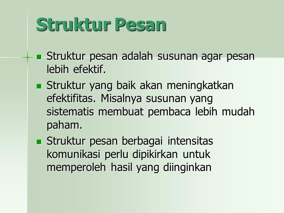 Struktur Pesan Struktur pesan adalah susunan agar pesan lebih efektif.