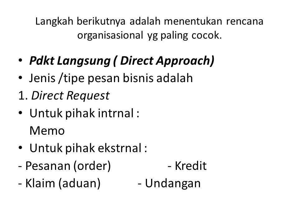 Pdkt Langsung ( Direct Approach) Jenis /tipe pesan bisnis adalah