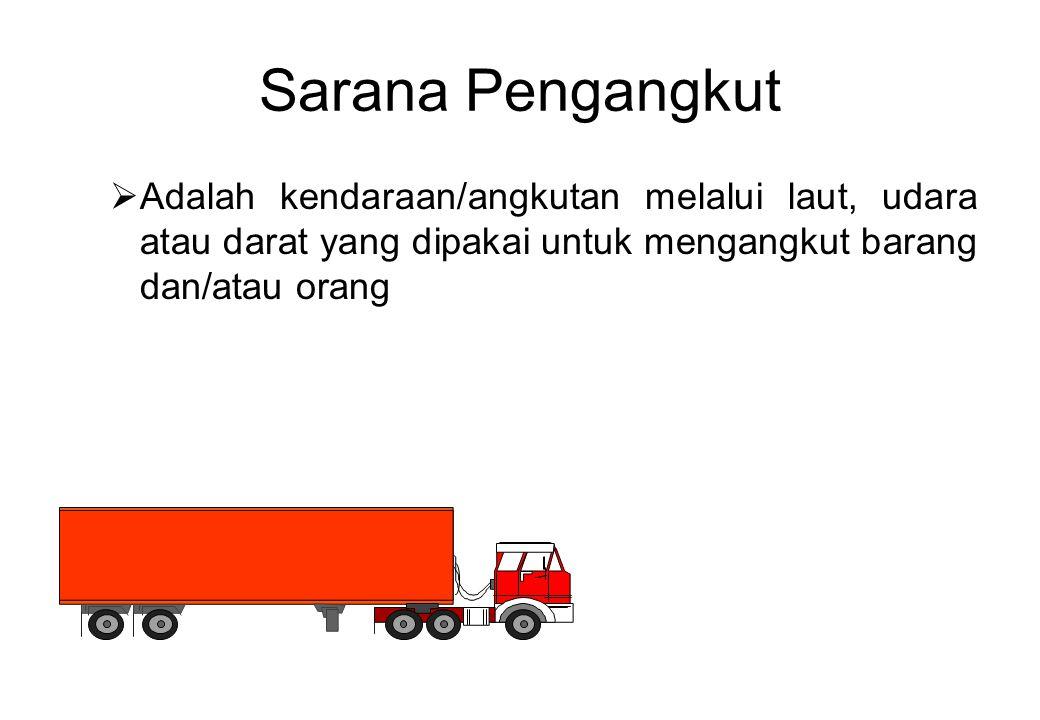 Sarana Pengangkut Adalah kendaraan/angkutan melalui laut, udara atau darat yang dipakai untuk mengangkut barang dan/atau orang.