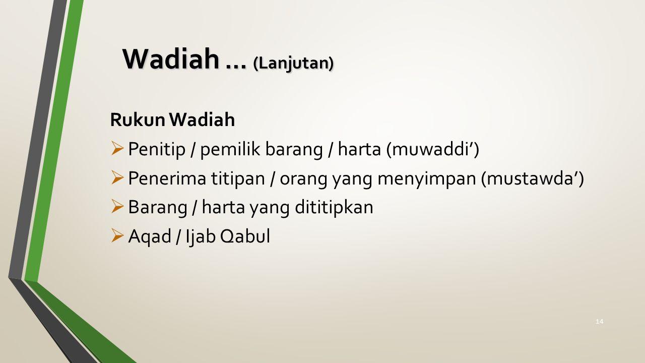 Wadiah ... (Lanjutan) Rukun Wadiah