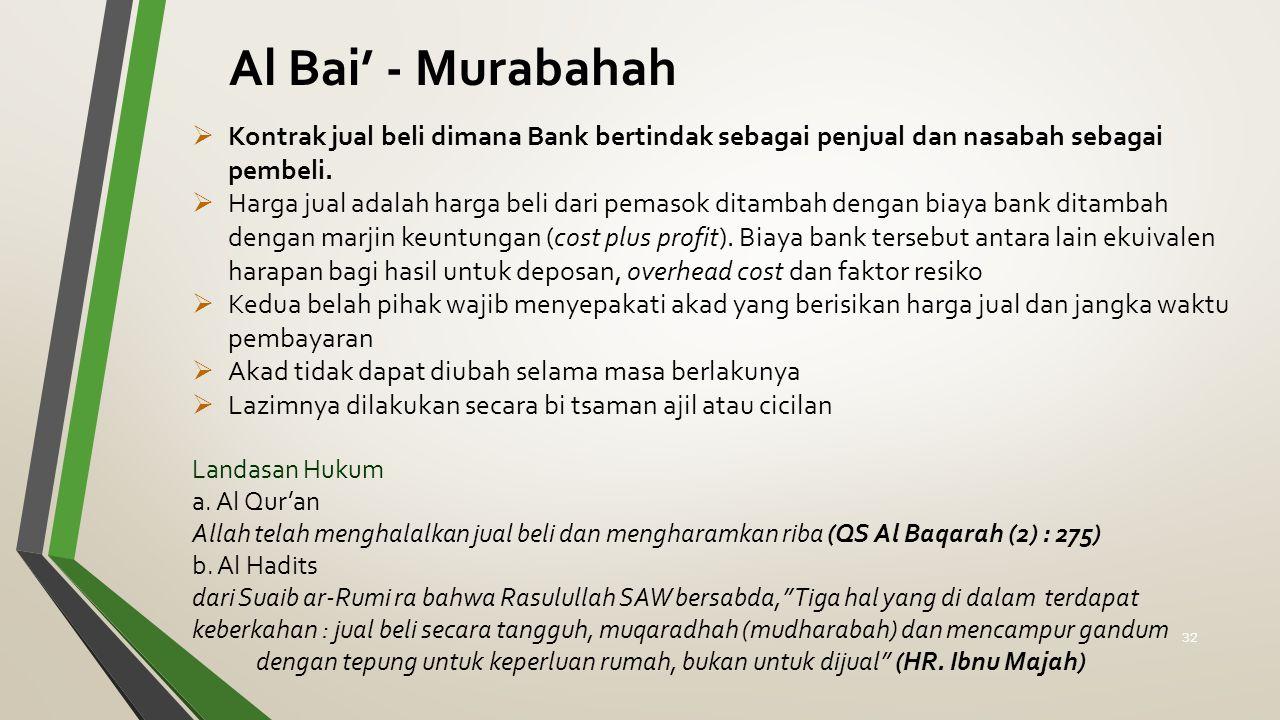 Al Bai' - Murabahah Kontrak jual beli dimana Bank bertindak sebagai penjual dan nasabah sebagai pembeli.