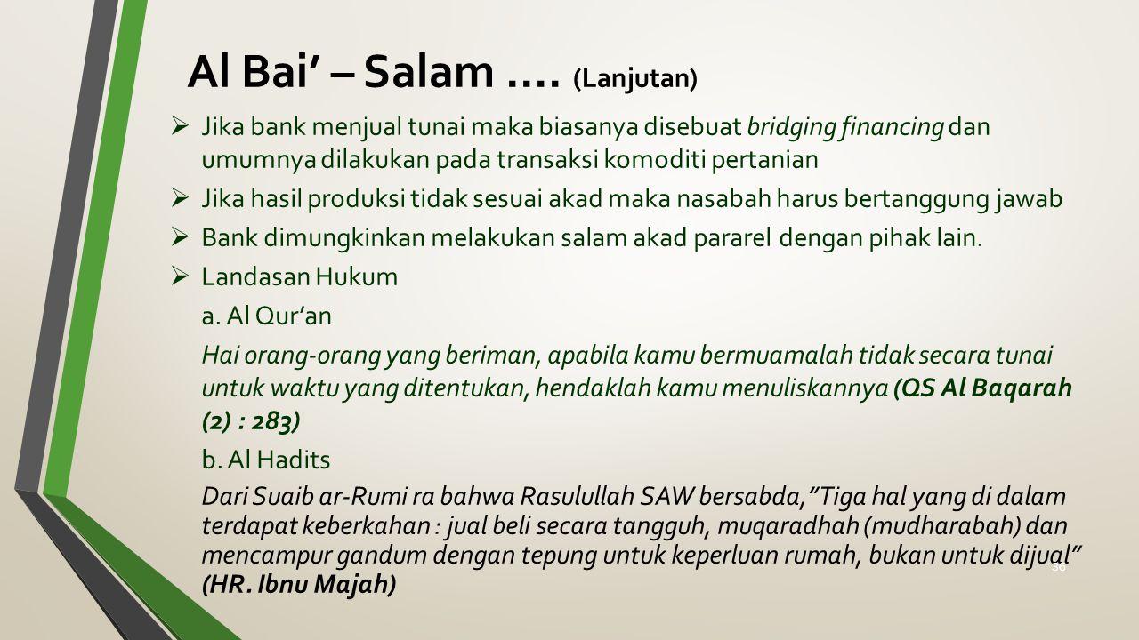 Al Bai' – Salam .... (Lanjutan)