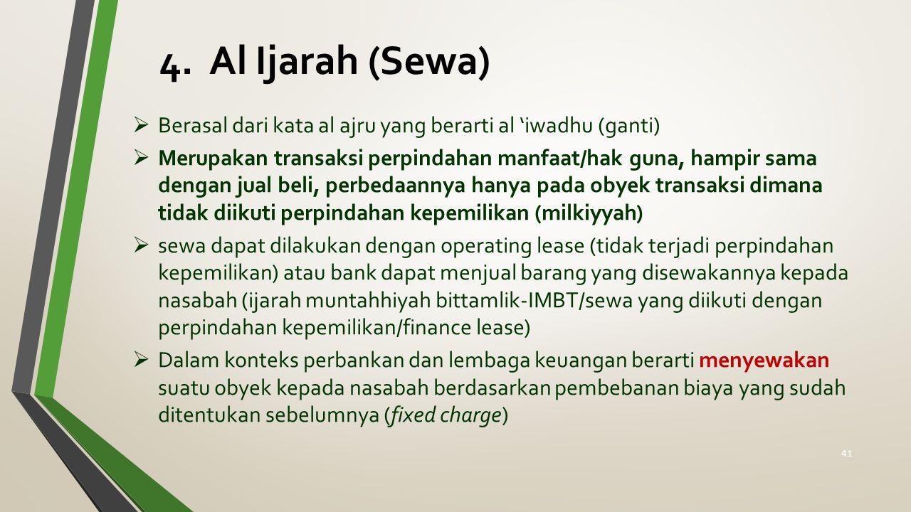 4. Al Ijarah (Sewa) Berasal dari kata al ajru yang berarti al 'iwadhu (ganti)
