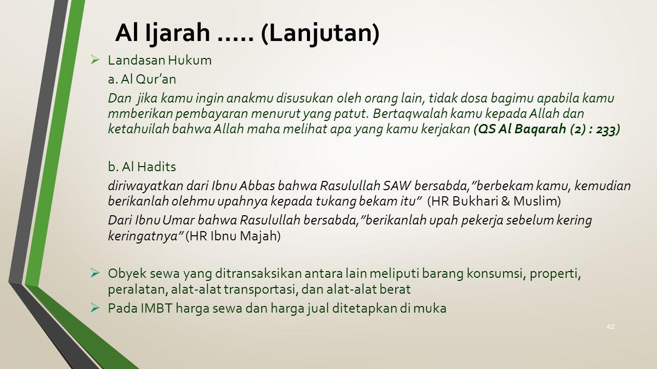Al Ijarah ..... (Lanjutan) Landasan Hukum a. Al Qur'an