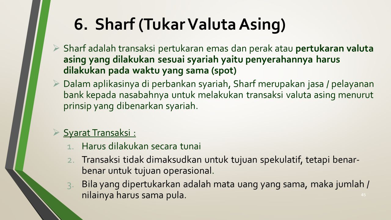 6. Sharf (Tukar Valuta Asing)