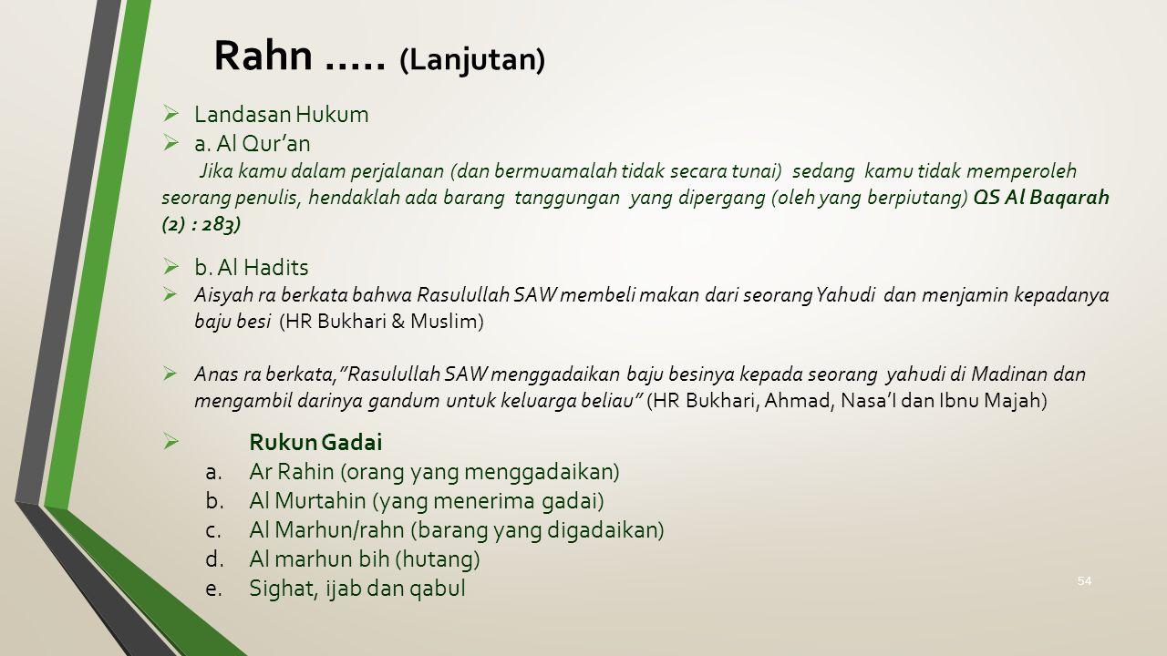 Rahn ..... (Lanjutan) Landasan Hukum a. Al Qur'an b. Al Hadits