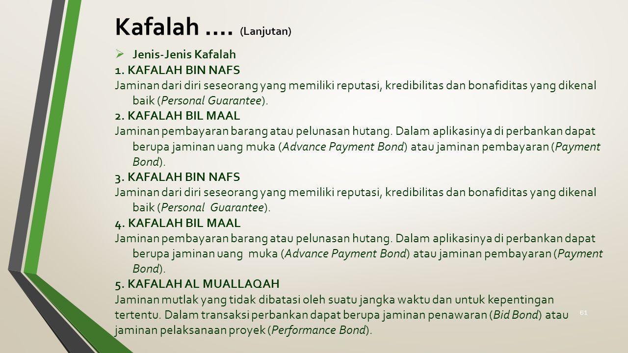 Kafalah .... (Lanjutan) Jenis-Jenis Kafalah 1. KAFALAH BIN NAFS