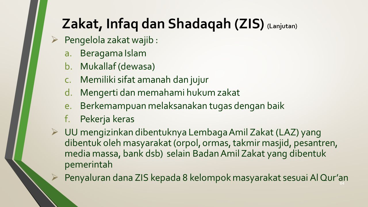 Zakat, Infaq dan Shadaqah (ZIS) (Lanjutan)