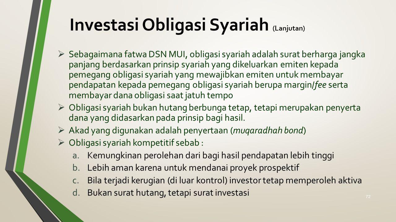 Investasi Obligasi Syariah (Lanjutan)