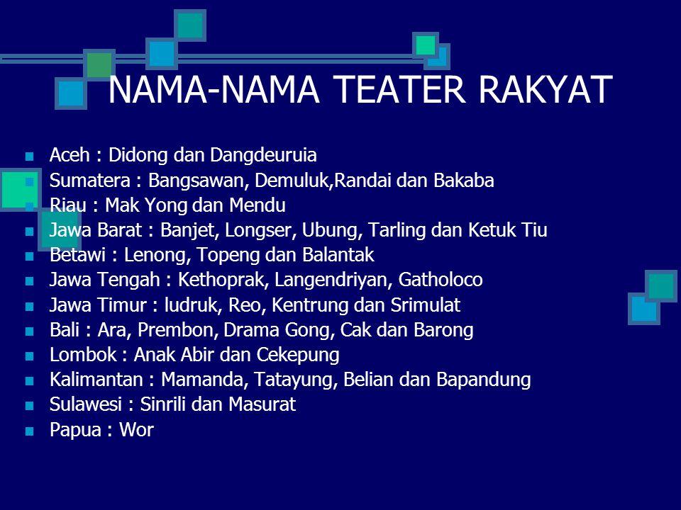 NAMA-NAMA TEATER RAKYAT