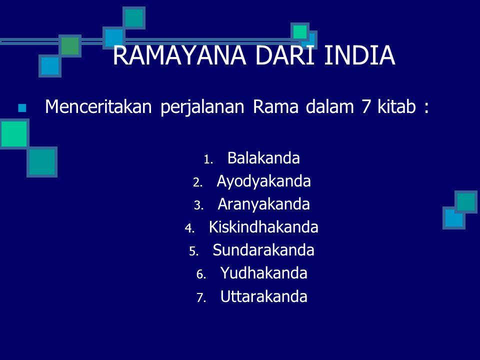 RAMAYANA DARI INDIA Menceritakan perjalanan Rama dalam 7 kitab :