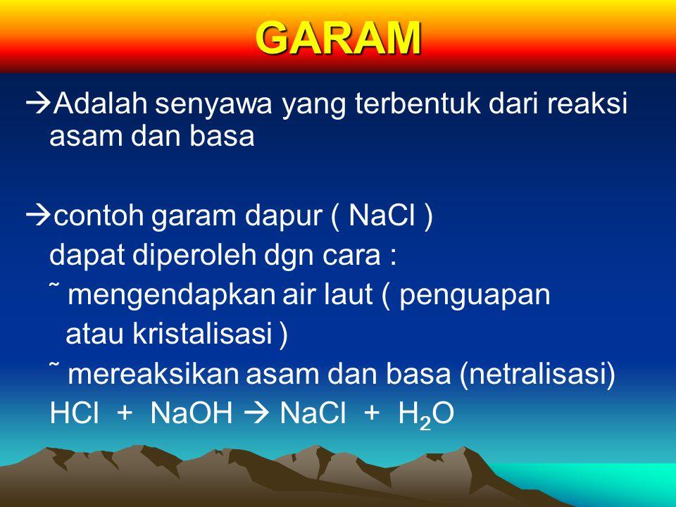 GARAM Adalah senyawa yang terbentuk dari reaksi asam dan basa