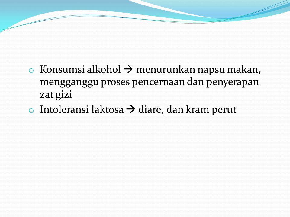 Konsumsi alkohol  menurunkan napsu makan, mengganggu proses pencernaan dan penyerapan zat gizi
