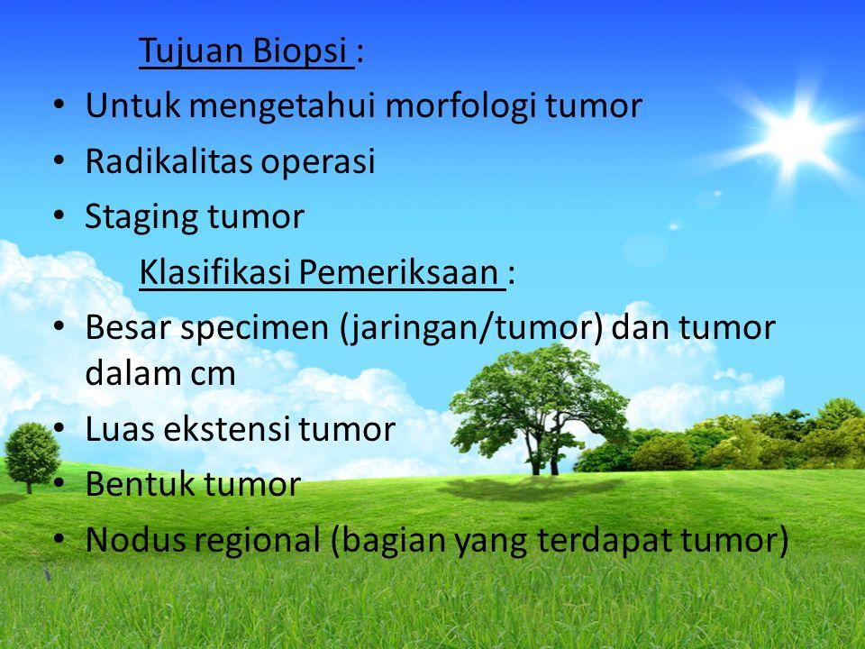 Tujuan Biopsi : Untuk mengetahui morfologi tumor. Radikalitas operasi. Staging tumor. Klasifikasi Pemeriksaan :
