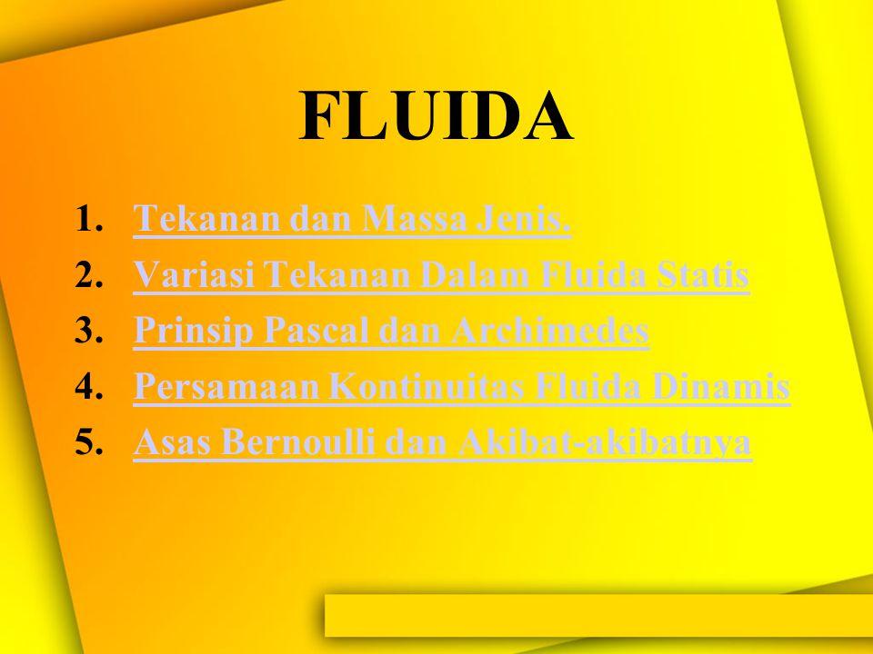 FLUIDA Tekanan dan Massa Jenis. Variasi Tekanan Dalam Fluida Statis
