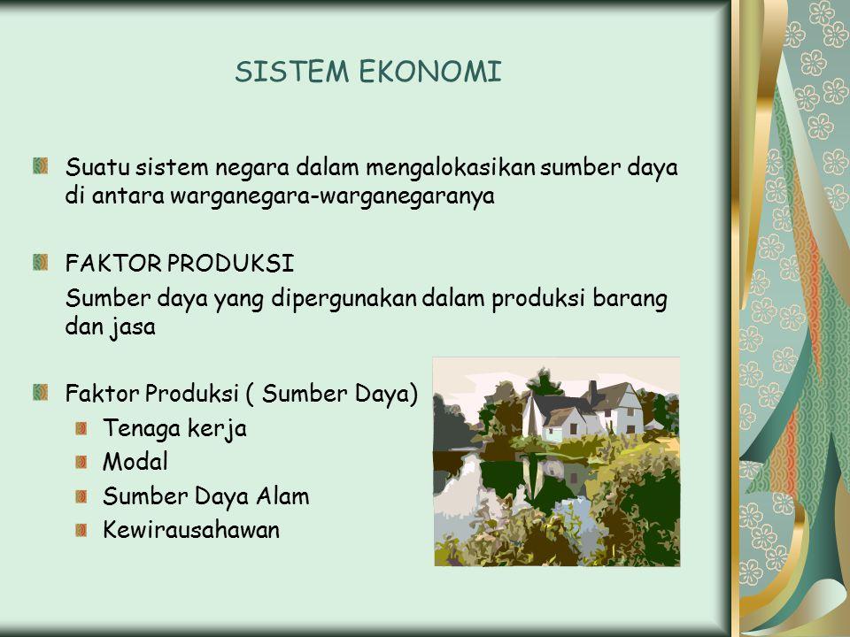 SISTEM EKONOMI Suatu sistem negara dalam mengalokasikan sumber daya di antara warganegara-warganegaranya.