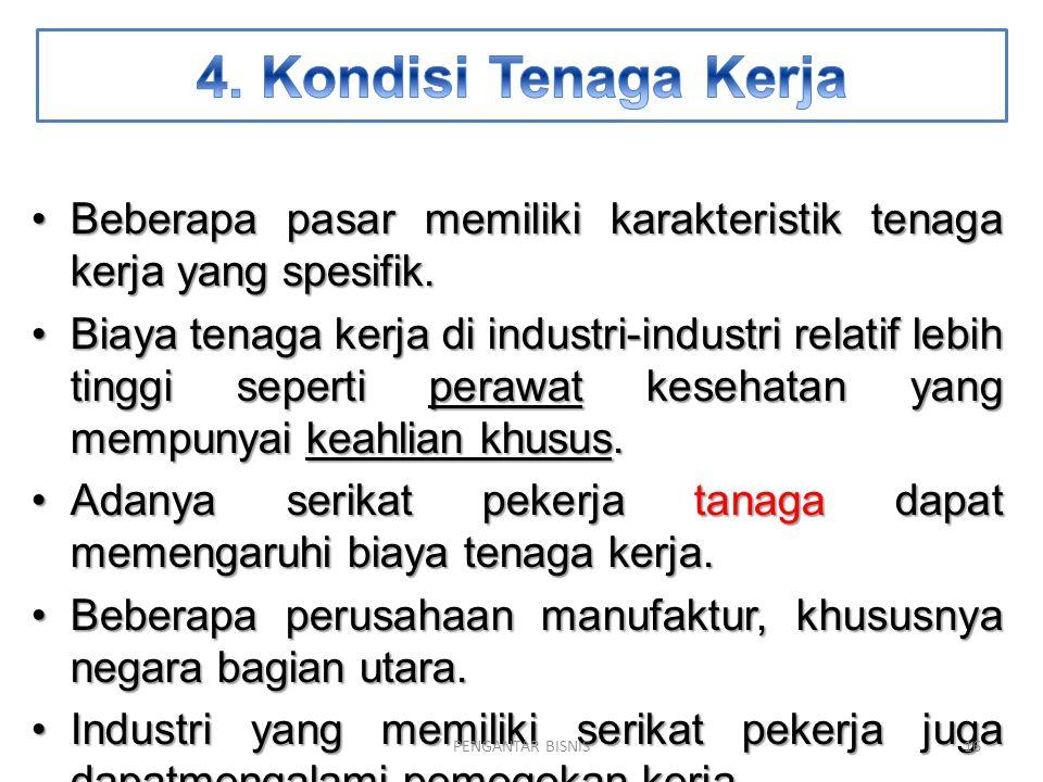 4. Kondisi Tenaga Kerja Beberapa pasar memiliki karakteristik tenaga kerja yang spesifik.