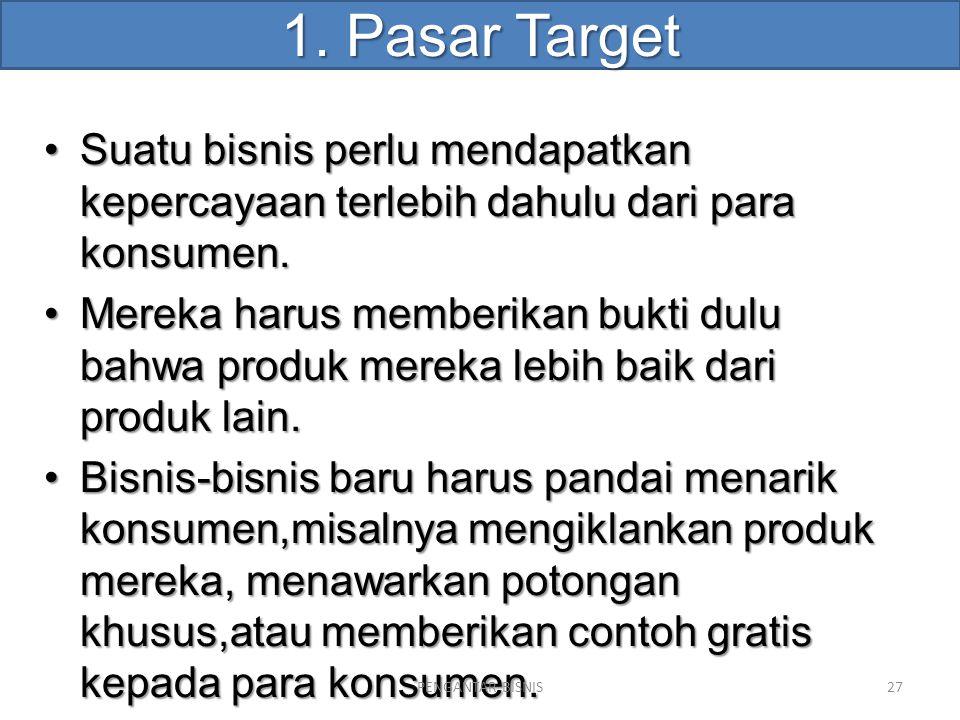 1. Pasar Target Suatu bisnis perlu mendapatkan kepercayaan terlebih dahulu dari para konsumen.