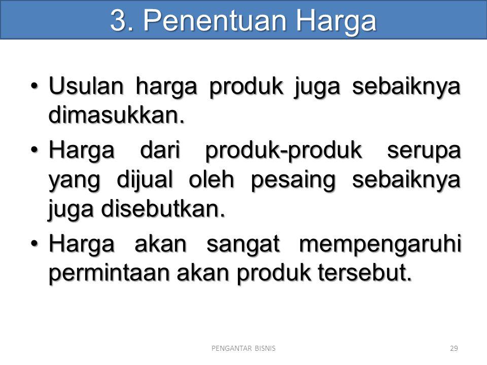 3. Penentuan Harga Usulan harga produk juga sebaiknya dimasukkan.