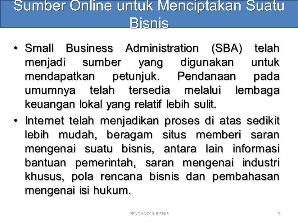 Sumber Online untuk Menciptakan Suatu Bisnis