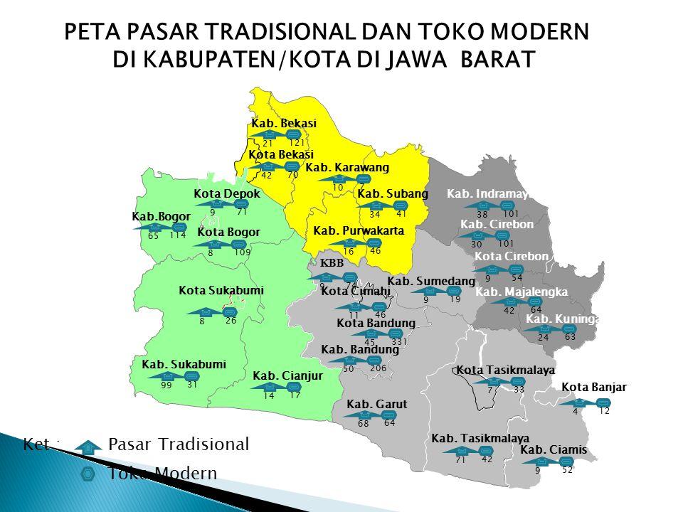 PETA PASAR TRADISIONAL DAN TOKO MODERN DI KABUPATEN/KOTA DI JAWA BARAT