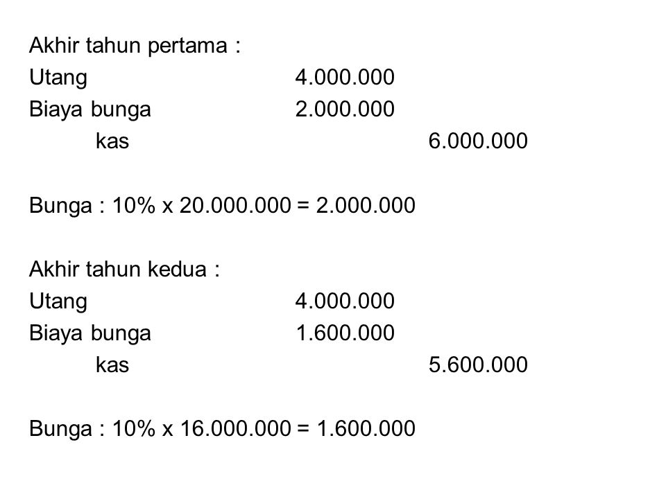 Akhir tahun pertama : Utang 4.000.000. Biaya bunga 2.000.000. kas 6.000.000. Bunga : 10% x 20.000.000 = 2.000.000.