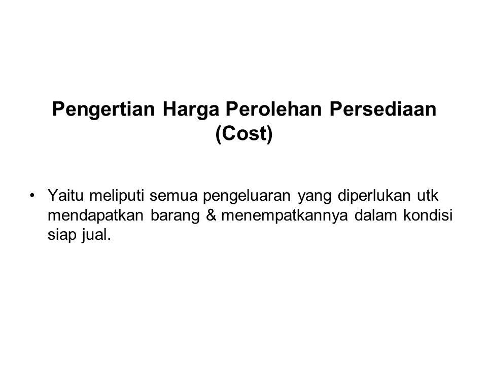 Pengertian Harga Perolehan Persediaan (Cost)