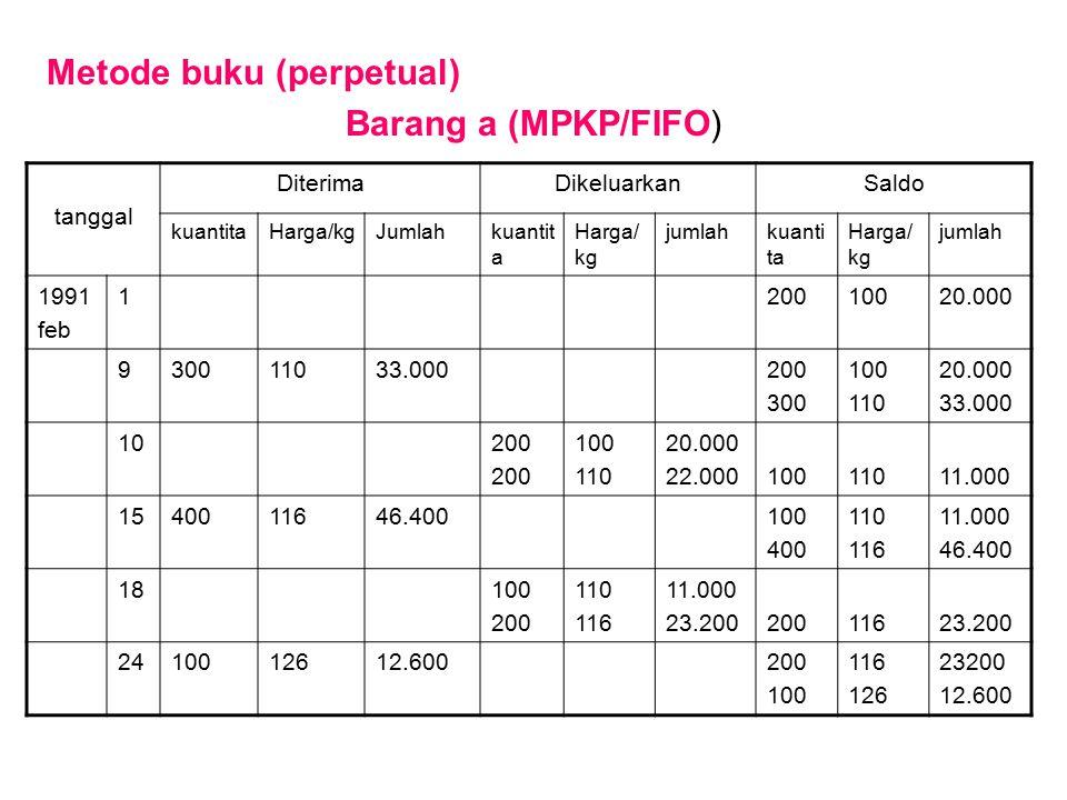 Metode buku (perpetual) Barang a (MPKP/FIFO)