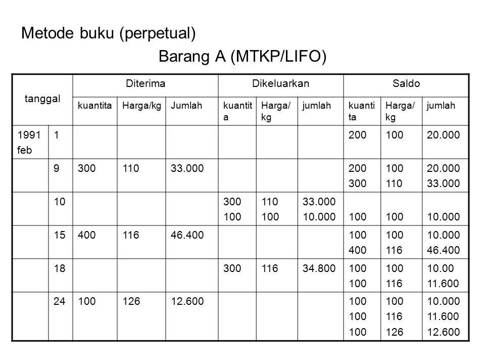 Metode buku (perpetual) Barang A (MTKP/LIFO)