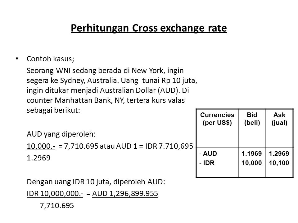 Perhitungan Cross exchange rate