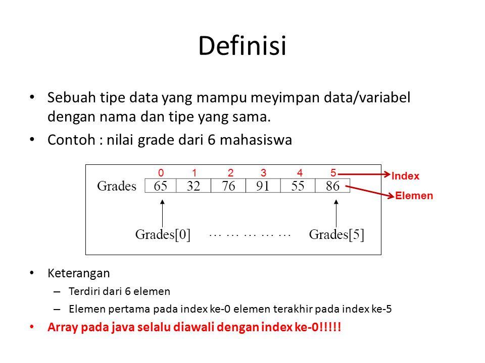 Definisi Sebuah tipe data yang mampu meyimpan data/variabel dengan nama dan tipe yang sama. Contoh : nilai grade dari 6 mahasiswa.