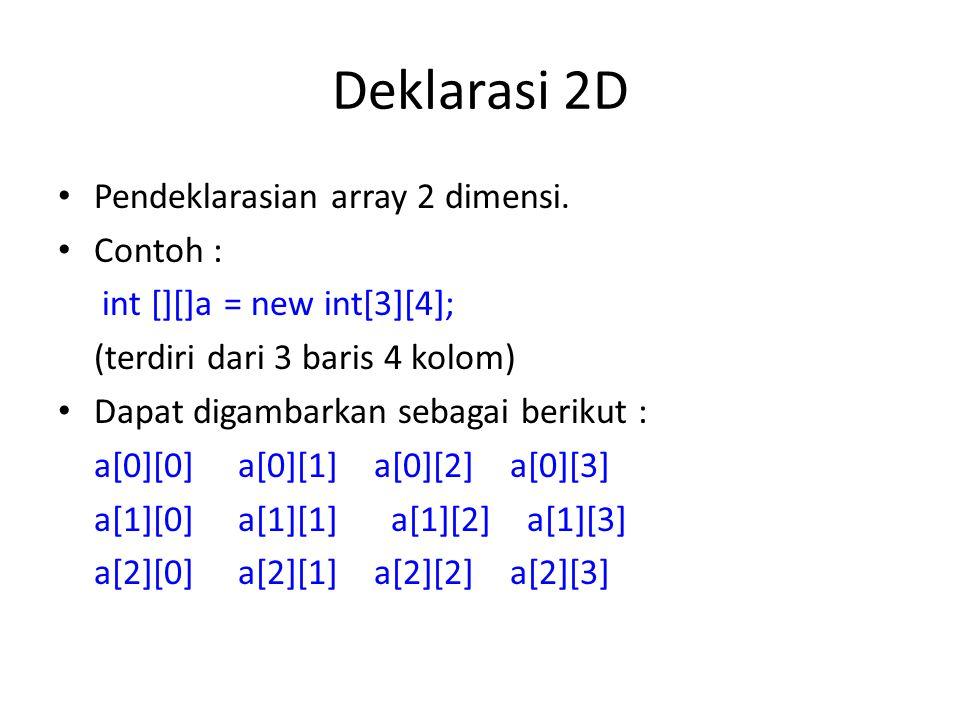Deklarasi 2D Pendeklarasian array 2 dimensi. Contoh :