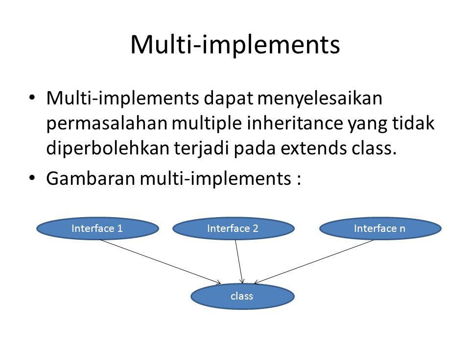 Multi-implements Multi-implements dapat menyelesaikan permasalahan multiple inheritance yang tidak diperbolehkan terjadi pada extends class.