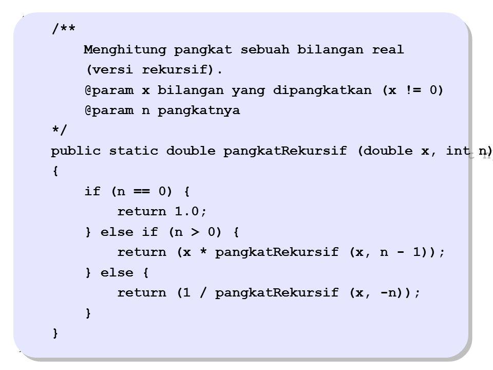 /** Menghitung pangkat sebuah bilangan real. (versi rekursif). @param x bilangan yang dipangkatkan (x != 0)