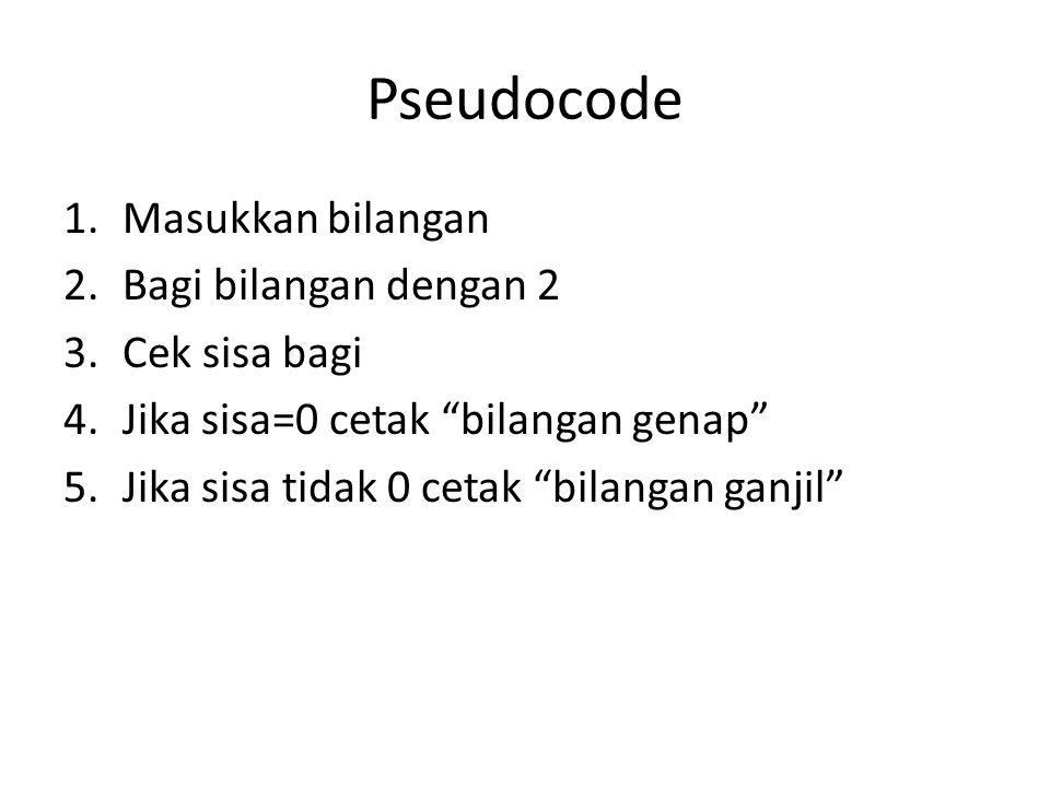 Pseudocode Masukkan bilangan Bagi bilangan dengan 2 Cek sisa bagi