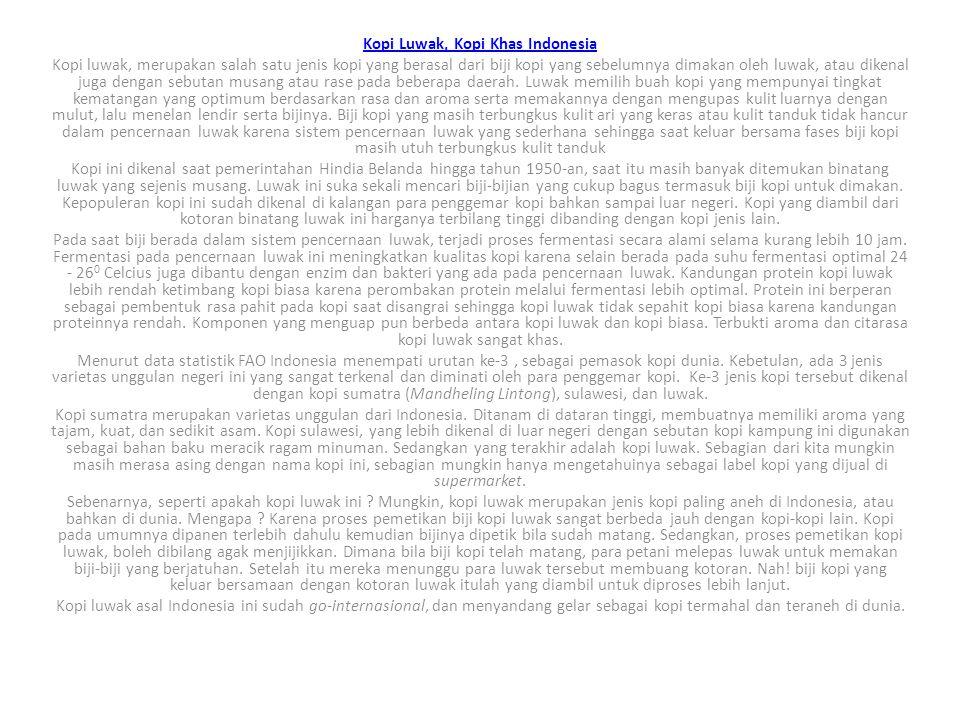 Kopi Luwak, Kopi Khas Indonesia