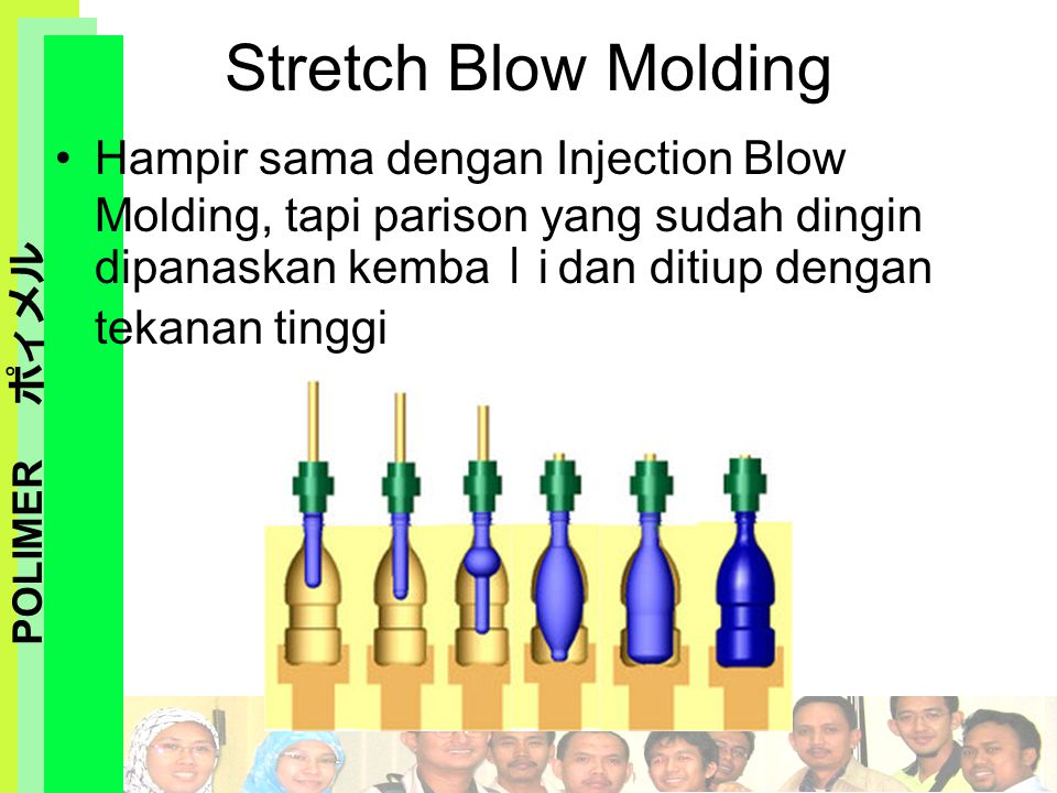 Stretch Blow Molding Hampir sama dengan Injection Blow Molding, tapi parison yang sudah dingin dipanaskan kembali dan ditiup dengan tekanan tinggi.