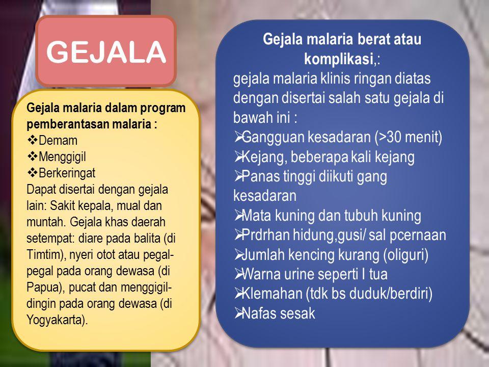 Gejala malaria berat atau komplikasi,: