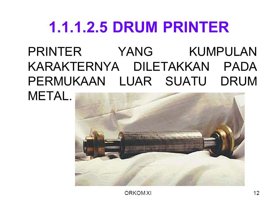 1.1.1.2.5 DRUM PRINTER PRINTER YANG KUMPULAN KARAKTERNYA DILETAKKAN PADA PERMUKAAN LUAR SUATU DRUM METAL.