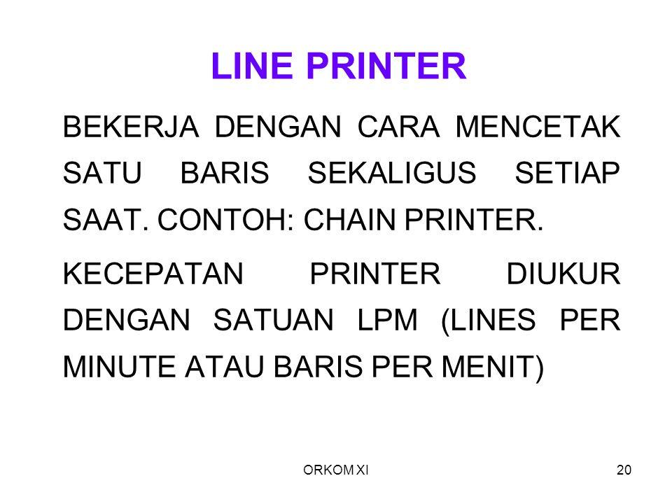 LINE PRINTER BEKERJA DENGAN CARA MENCETAK SATU BARIS SEKALIGUS SETIAP SAAT. CONTOH: CHAIN PRINTER.