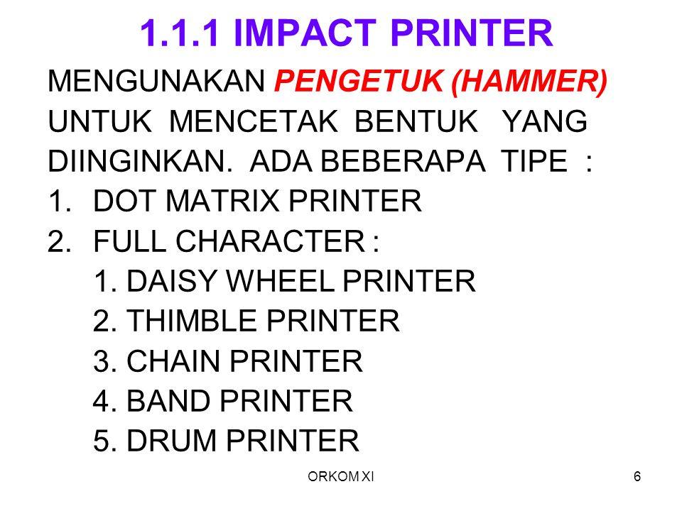 1.1.1 IMPACT PRINTER MENGUNAKAN PENGETUK (HAMMER)
