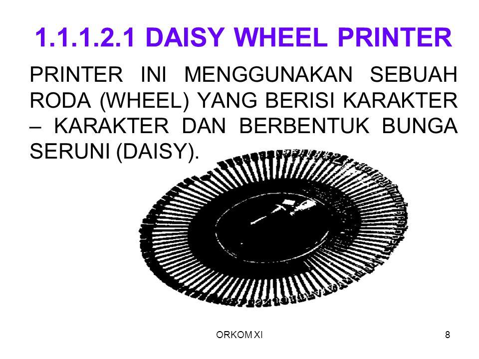 1.1.1.2.1 DAISY WHEEL PRINTER PRINTER INI MENGGUNAKAN SEBUAH RODA (WHEEL) YANG BERISI KARAKTER – KARAKTER DAN BERBENTUK BUNGA SERUNI (DAISY).