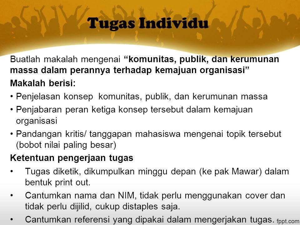 Tugas Individu Buatlah makalah mengenai komunitas, publik, dan kerumunan massa dalam perannya terhadap kemajuan organisasi