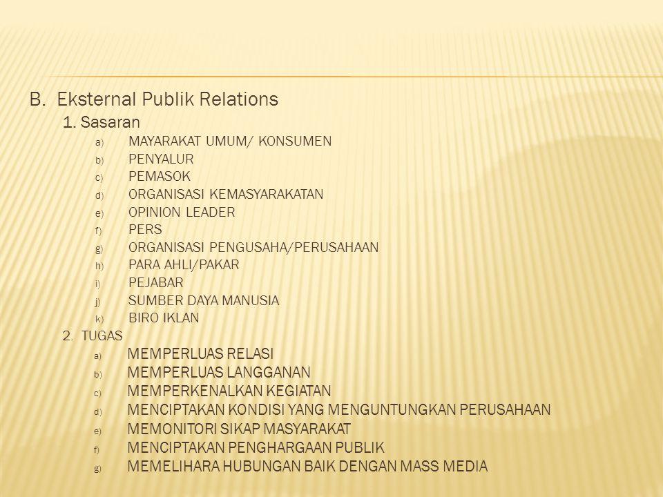 B. Eksternal Publik Relations