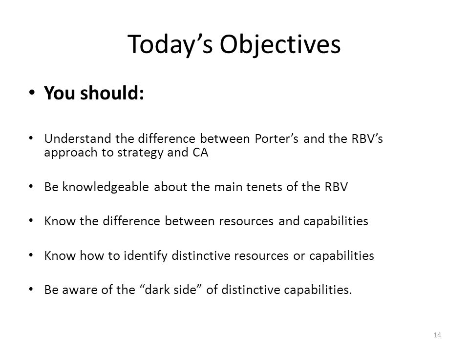 Today's Objectives You should: