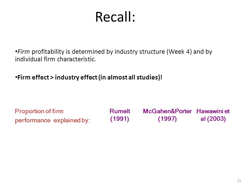 What is Strategy Recall: Firm profitability is determined by industry structure (Week 4) and by individual firm characteristic.