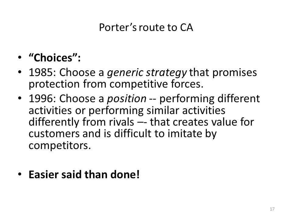 What is Strategy Porter's route to CA. Choices : 1985: Choose a generic strategy that promises protection from competitive forces.